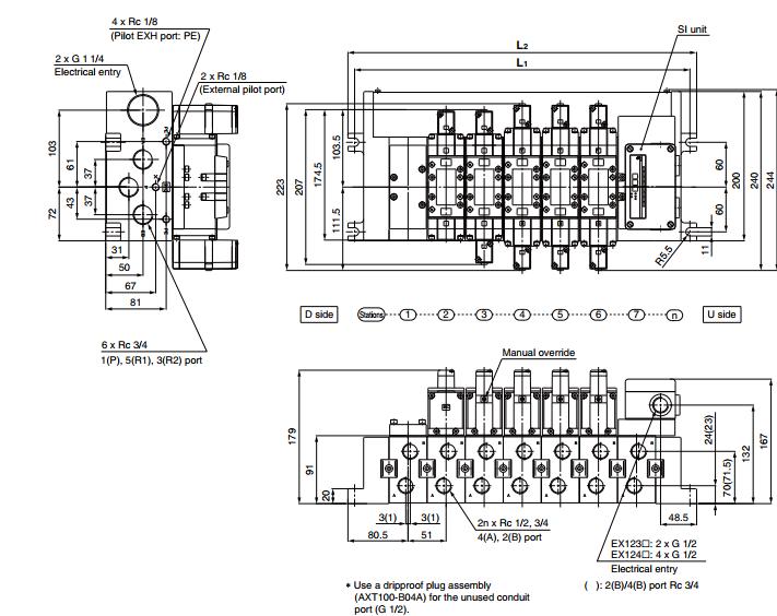 实物到货:日本smc 5通先导式电磁阀vfs5210-5dz-04图片