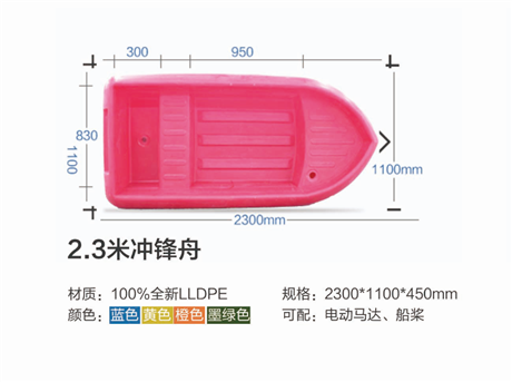 直销2.3米牛筋船冲锋舟/塑料船塑料船多少钱