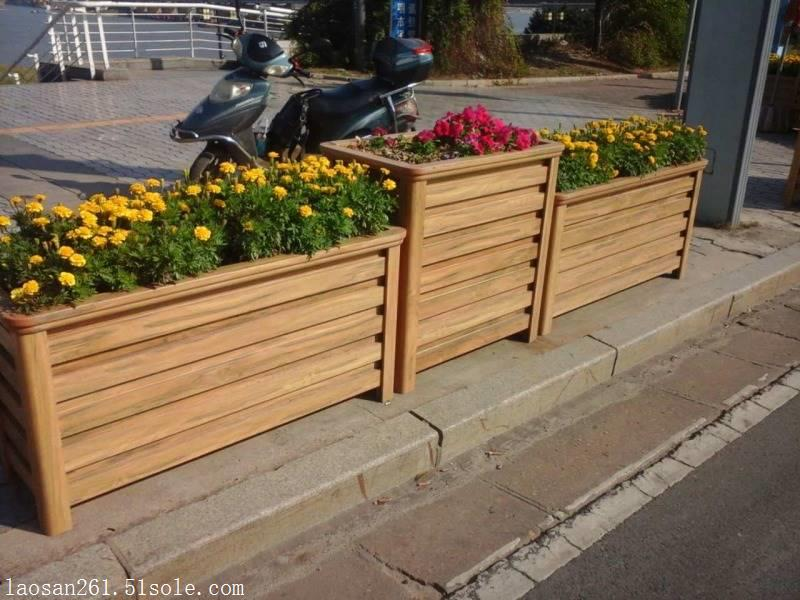 雅安园林绿化仿木纹铝合金花箱