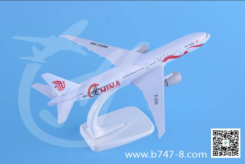 飞机模型波音B777国航爱彩绘机金属静态客机 20厘米商务工艺礼品