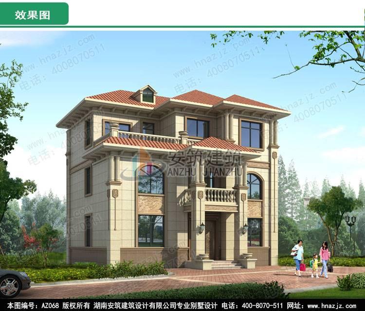 30万建三层农村小楼图纸设计,自建房效果图,az068
