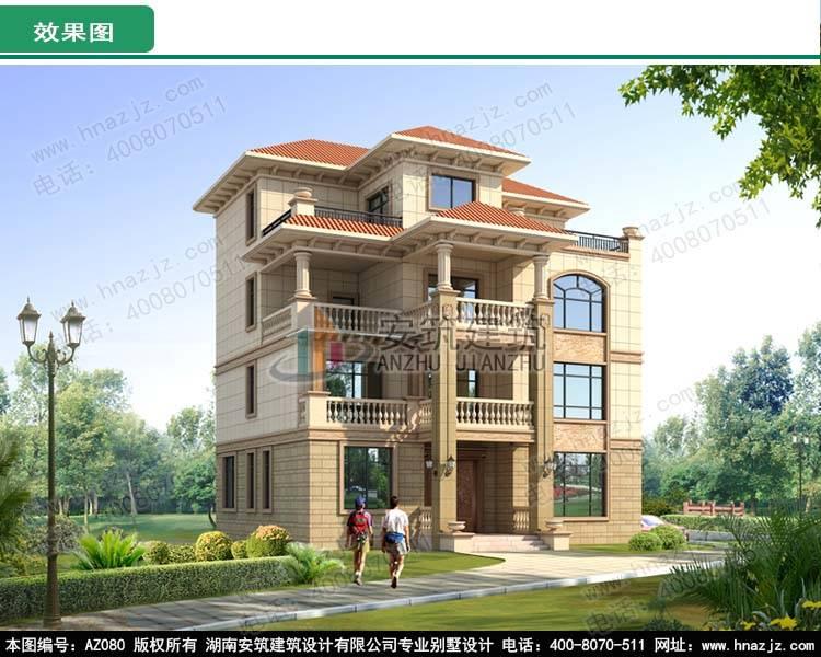 农村四层楼房设计图,占地120平方米,欧式风格,高端大气