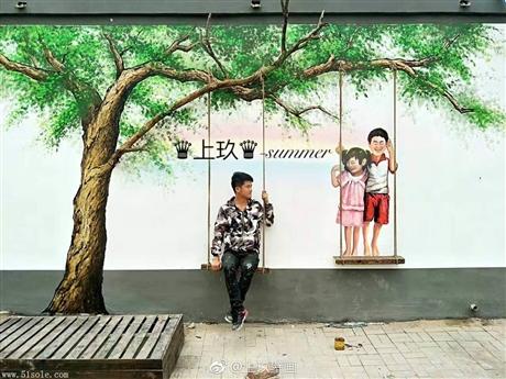 广州乡道彩绘 美丽乡村文化墙 彩绘手绘 追梦墙绘