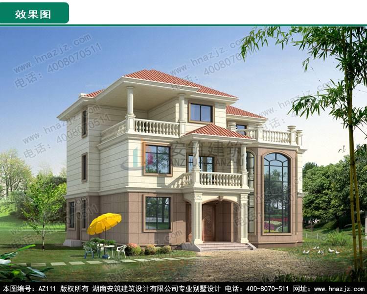az111三层欧式别墅设计图纸,全套农村自建房屋建筑
