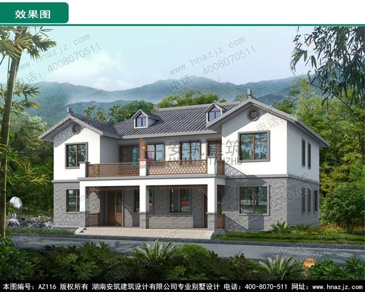 设计有限公司 图纸商城 >az116新中式双拼二层别墅图纸,农村自建房图片