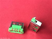 USB2.0母座 10.0后2脚90度插件式4P 6.3H-PBT绿胶