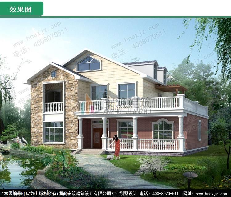 az170二层美式小洋楼经济型别墅设计图,别墅图纸超市
