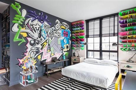 室内设计 深圳床头画设计 深圳背景墙彩绘 追梦墙绘