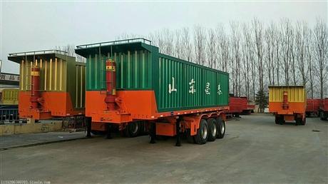 广东区域挂车定做、山东挂车厂家直销、8米8.5米9米平板后翻自卸