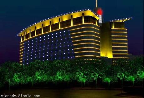 西安夜景亮化设计 西安酒店会所照明工程 楼体外墙亮化工程设计