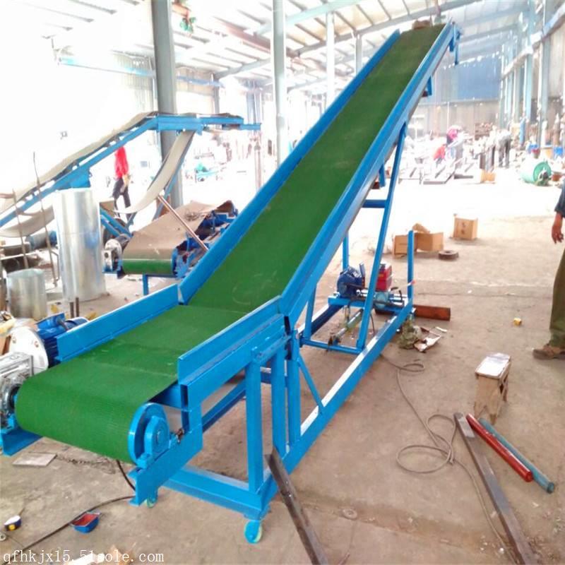 興運工廠零售8米長圓管護欄卸車 綠色格擋防滑型皮帶輸送機