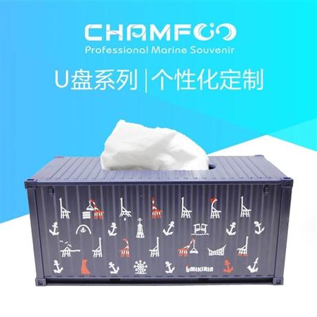 日本客户定制集装箱模型抽纸盒蓝色