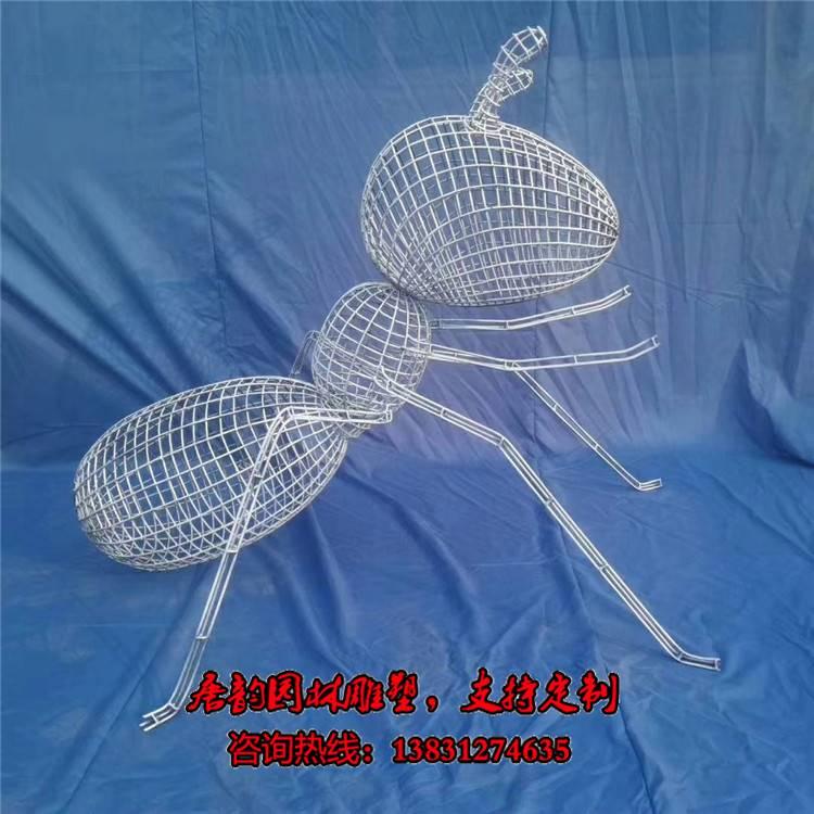 铁艺编织蚂蚁雕塑,铁丝网格蚂蚁雕塑