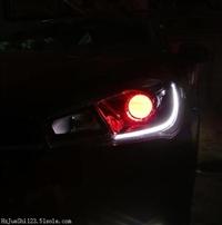 惠州哪里专业车灯改装,奇瑞艾瑞泽5汽车大灯升级双光透镜加恶魔