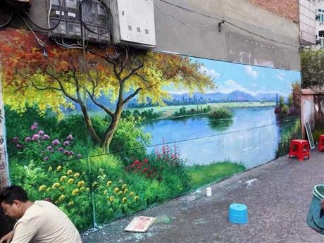 深圳度假村彩绘  围墙彩绘 外墙墙绘 追梦墙绘
