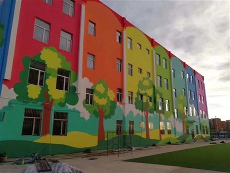 深圳幼儿园彩绘 七彩墙体彩绘 装饰涂鸦 追梦墙绘