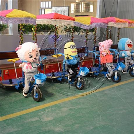 游乐场电动车公园动物拉车儿童亲子双人电动玩具车游乐车支持定制