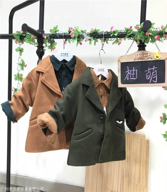 秋冬新品童装柚萌冬季童装呢料外套大图