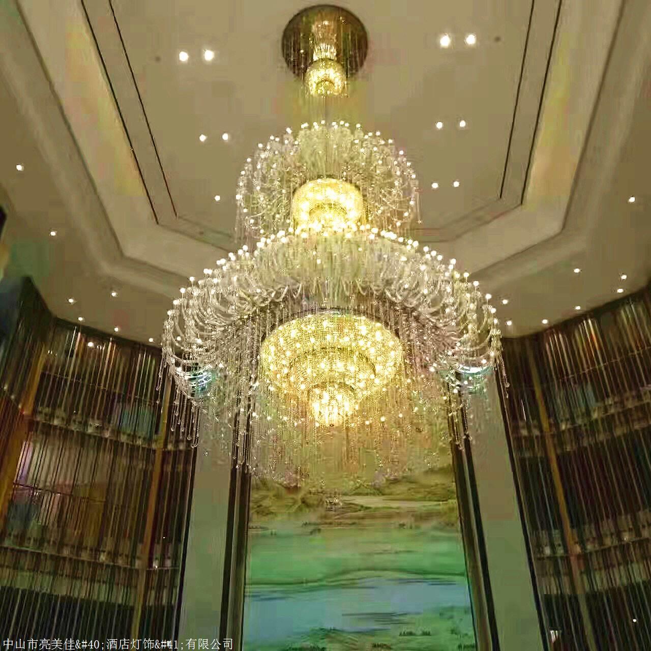 水晶吊灯 电梯前室灯具 写字楼大厅灯饰 酒店会所灯具