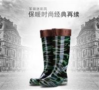 雨靴迷彩保暖雨靴