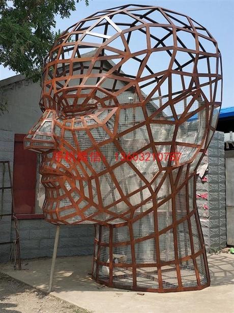 人头镂空雕塑,不锈钢大脑智慧雕塑高清图