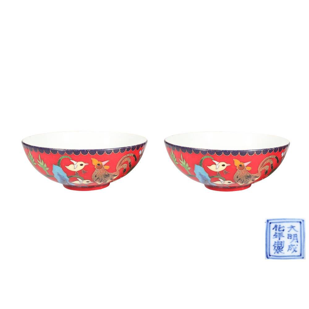 瓷胎掐丝珐琅鸡纹碗