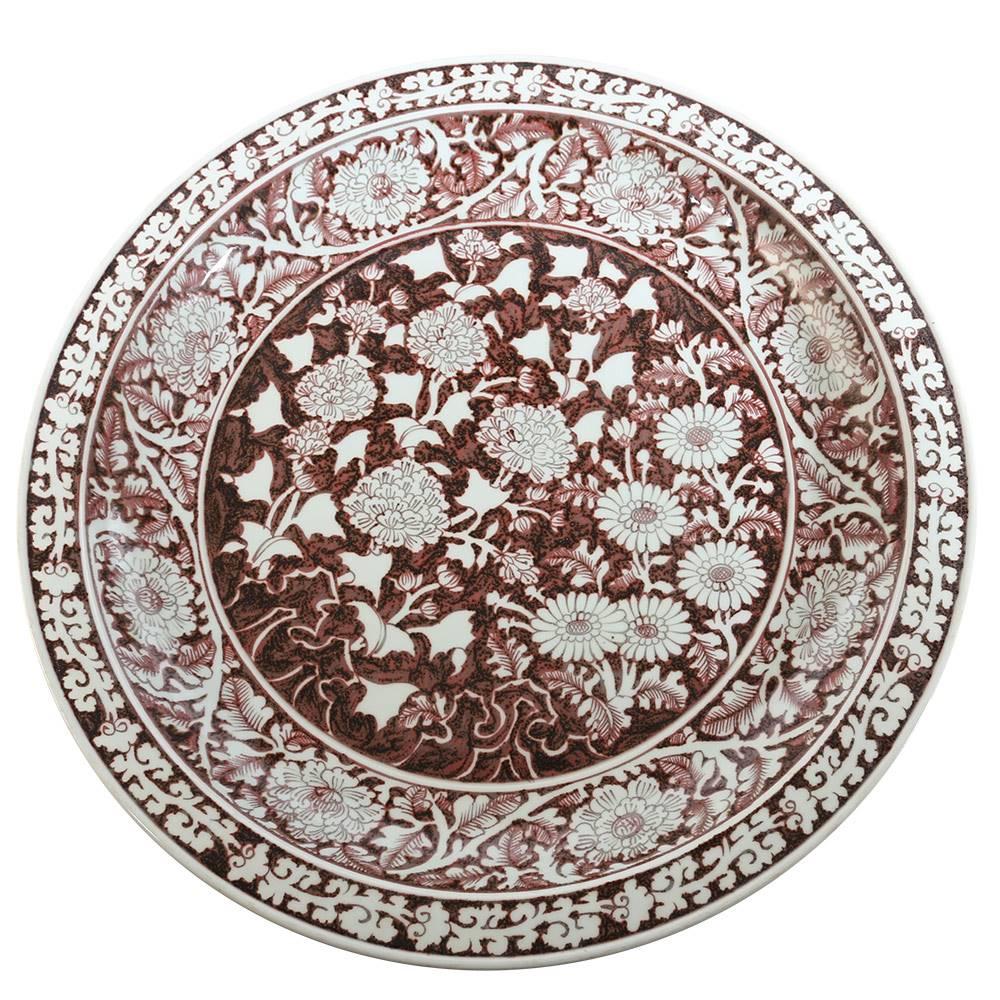 釉里红牡丹菊纹折沿盘交易平台