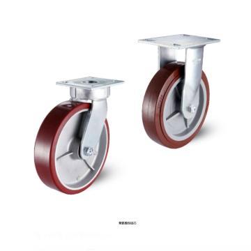 200聚氨酯���板型抗冲击固定脚轮,轴承 滚柱