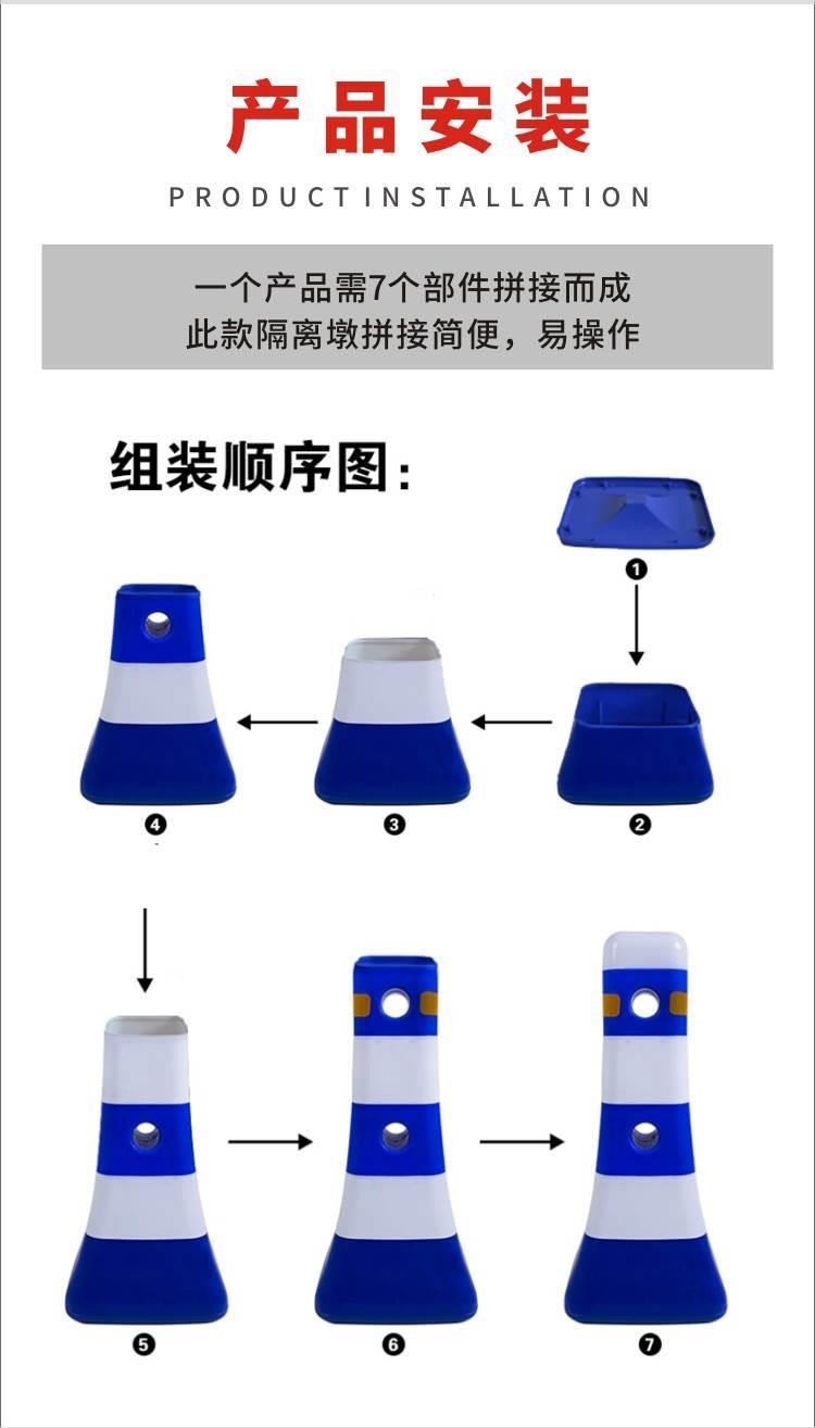广东佛杀虫剂 粤盾交通PVC蘑菇墩红蓝白护栏墩反光塑料防撞桶(图4)