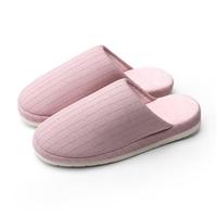 樸西居家條紋保暖日式短毛絨情侶包頭棉拖鞋 女PS09003淺粉37-38