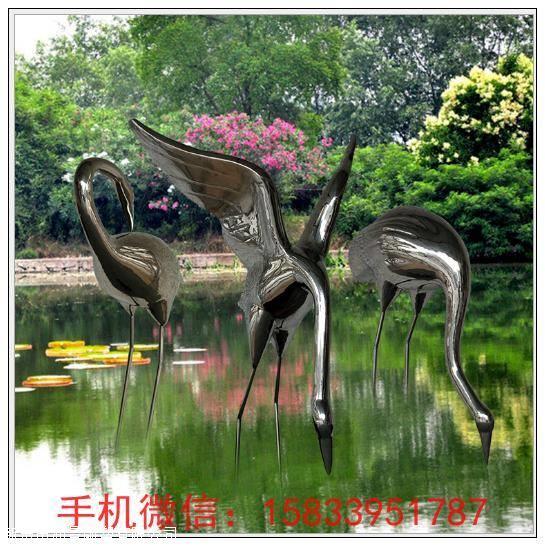 园林景观雕塑仙鹤动物 水景不锈钢镜面雕塑