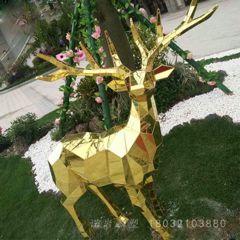 景观动物不锈钢雕塑 园林动物几何小鹿雕塑