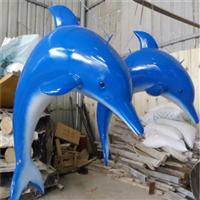 卡通玻璃钢海豚雕塑、海洋公园主题雕塑、广州玻璃钢海豚组合厂家