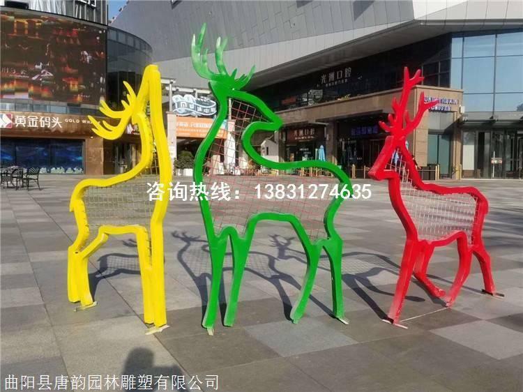 �F�剪影鹿雕塑,�U空鹿雕塑