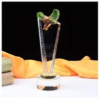 琉璃水晶獎杯 水晶琉璃老鷹獎杯 琉璃擺件紀念品