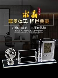 筆筒三件套定做加印logo  廣州水晶筆筒生產